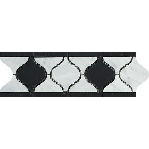 Carrara White Lantern Border w/ Black Marble Polished/Honed Stone Tilezz