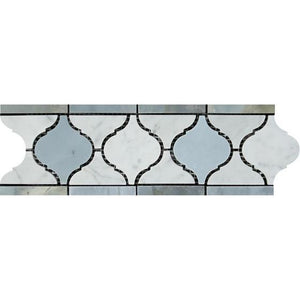 Carrara White 4x12 Lantern Border w/Blue Gray Marble Polished/Honed Stone Tilezz