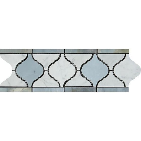 "4"" X 12""  Carrara White Lantern Border w/Blue Gray Marble Polished or Honed"
