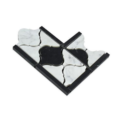 Carrara White Lantern Border Corner w/Black Marble Polished/Honed Stone Tilezz