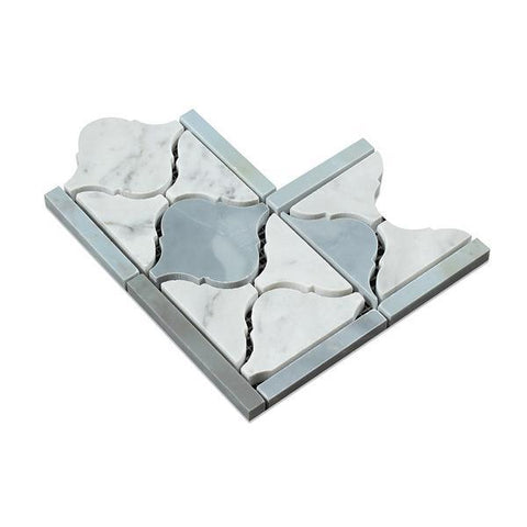 Carrara White Lantern Corner w/Blue Gray Marble Polished/Honed Stone Tilezz