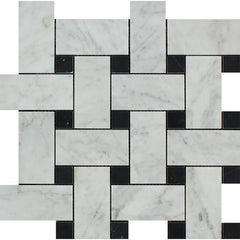 Bianco Carrara Honed or Polished Marble Large Basketweave Mosaic Tile (w/ Black Dots)