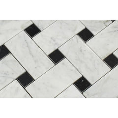 Carrara White Large Basketweave with Black Marble Polished/Honed