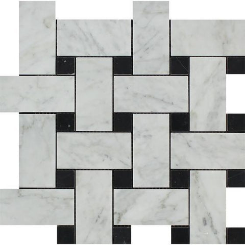 Carrara White Large Basketweave with Black Marble Polished/Honed Stone Tilezz