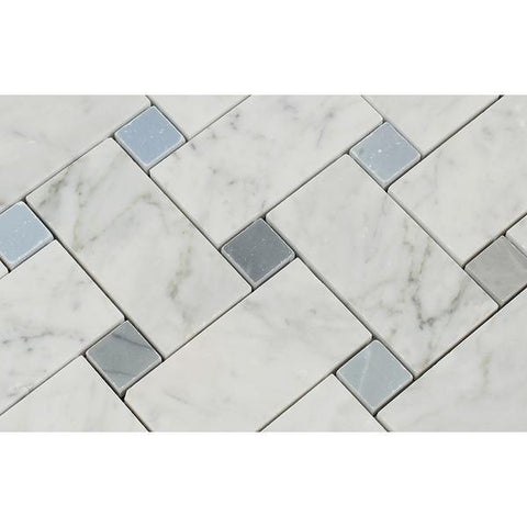 Carrara White Large Basketweave with Blue Gray Marble Polished/Honed Stone Tilezz