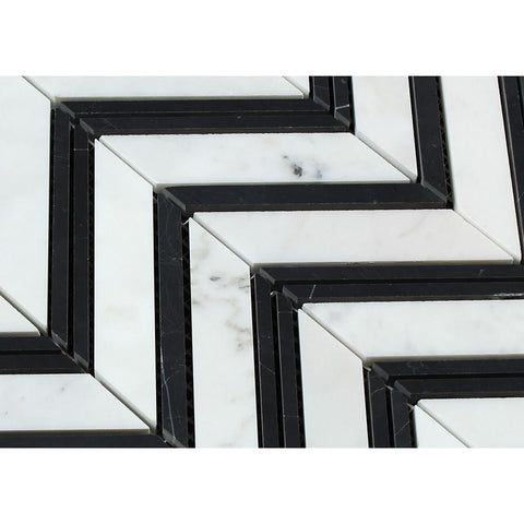 Carrara White Chevron with Black Marble Polished/Honed Stone Tilezz