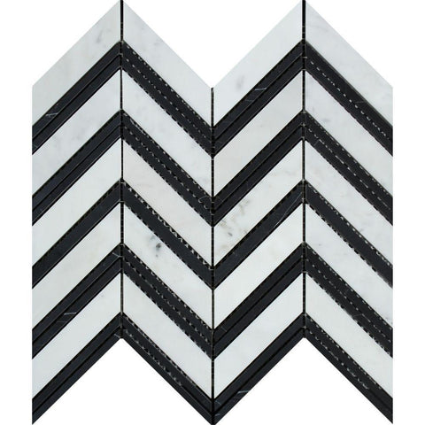 Bianco Carrara Honed or Polished Marble Large Chevron Mosaic Tile (Carrara + Black (Thin Strips))