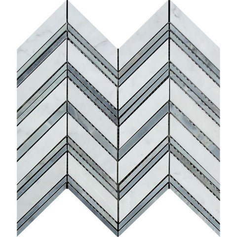 Bianco Carrara Honed or Polished Marble Large Chevron Mosaic Tile (Carrara + Blue Gray (Thin Strips))