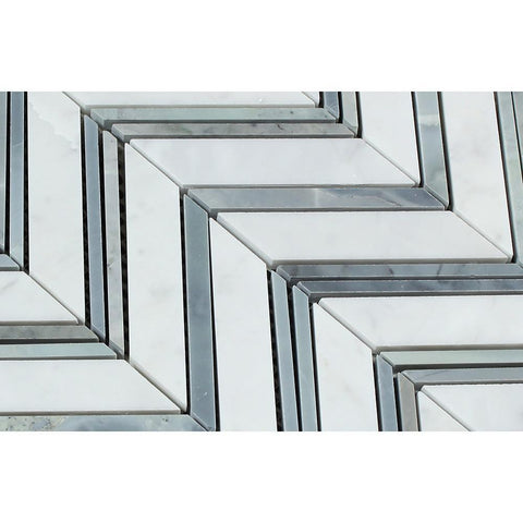 Carrara White Chevron with Blue Marble Polished/Honed Stone Tilezz