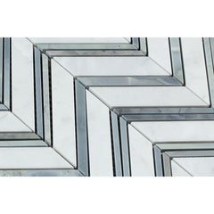 Carrara White Chevron with Blue Marble Polished/Honed