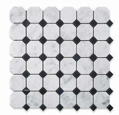 Bianco Carrara White Marble Polished or Honed Octagon Mosaic Tile with Black Dots