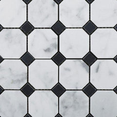 Carrara White Marble Octagon with Black Marble Polished/Honed