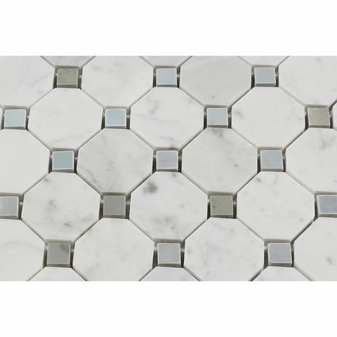 Carrara White Octagon Mosaic With Blue Marble Polished/Honed Stone Tilezz