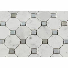 Carrara White Octagon Mosaic With Blue Marble Polished/Honed