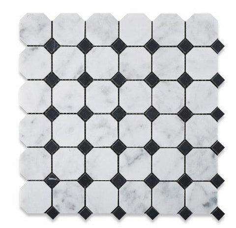 Carrara White Marble Octagon with Black Marble Polished/Honed Stone Tilezz