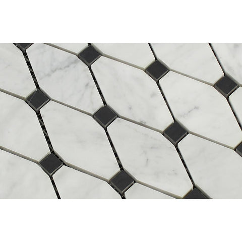 Carrara White Octave with Black Marble Polished/Honed Stone Tilezz