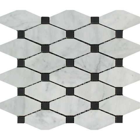 Bianco Carrara Honed or Polished Marble Octave Mosaic Tile (w/ Black Dots)