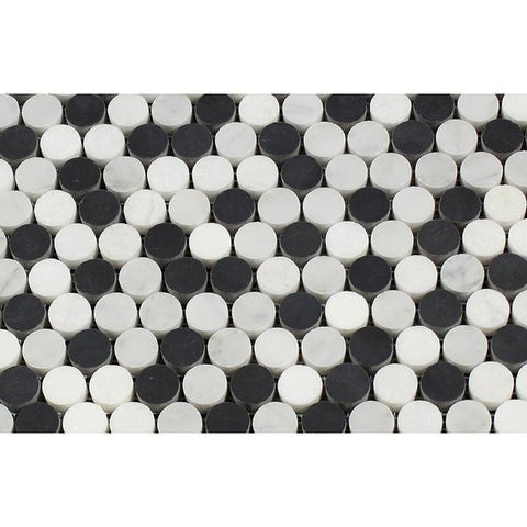 Bianco Carrara Honed or Polished Marble Penny Round Mosaic Tile (Carrara + Thassos + Black)
