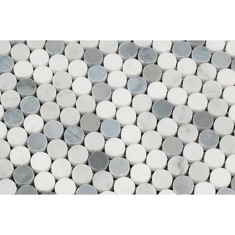 Bianco Carrara Honed or Polished Marble Penny Round Mosaic Tile (Carrara + Thassos + Blue)