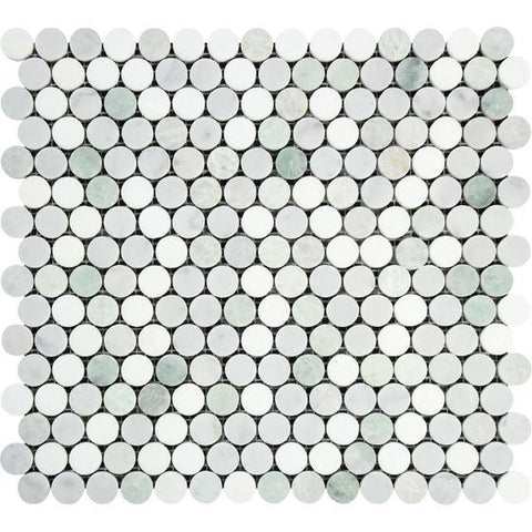 Bianco Carrara Honed or Polished Marble Penny Round Mosaic Tile (Carrara + Thassos + Ming Green)