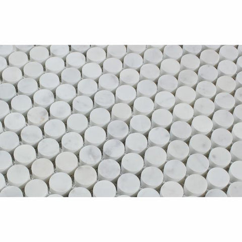 "3/4""x3/4"" Carrara White Penny Round Mosaic Marble Tile, Honed or Polished Marble Tile"