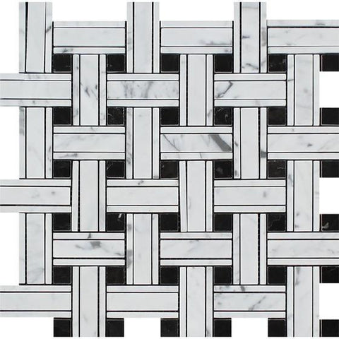 Carrara White Kenzy Basketweave with Black Marble Polished/Honed Stone Tilezz