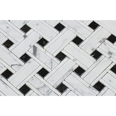 Carrara White Kenzy Basketweave with Black Marble Polished/Honed