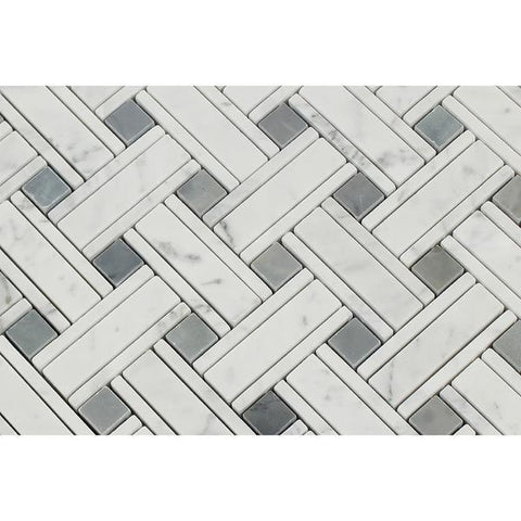 Carrara White Kenzy Basketweave with Blue Marble Polished/Honed Stone Tilezz