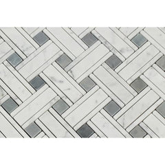Carrara White Kenzy Basketweave with Blue Marble Polished/Honed