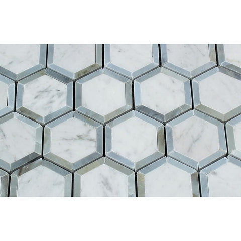 Carrara White Hexagon Phantom Hex with Blue Marble Polished/Honed Stone Tilezz