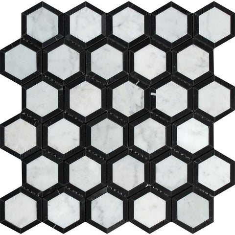 Carrara White Hexagon Phantom Hex with Black Marble Polished/Honed Stone Tilezz