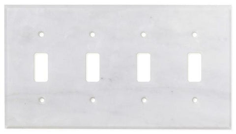 Carrara White Marble Quadruple Toggle Switch Plate Polished/Honed Tilezz