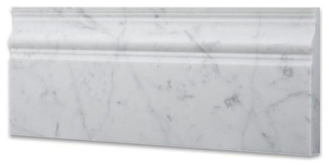 Carrara White Marble 5X12 Baseboard Molding Polished/Honed Stone Tilezz