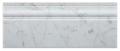 Carrara White Baseboard Molding, Polished or Honed