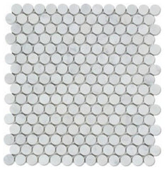 Carrara White Penny Round Mosaic Polished /Honed Stone Tilezz