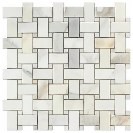 Calacatta Gold  Basketweave Mosaic with Calacatta Dots, Polished or Honed