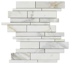 Calacatta Gold Marble Random Strip Tile, Polished or Honed