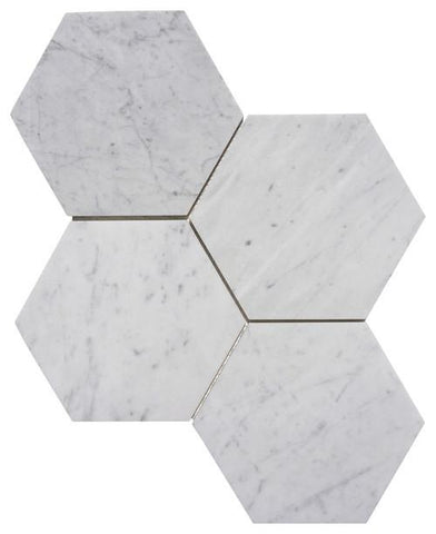 "Carrara White Marble Large 6"" Hexagon Mosaic Tile Honed Or Polished Stone Tilezz"