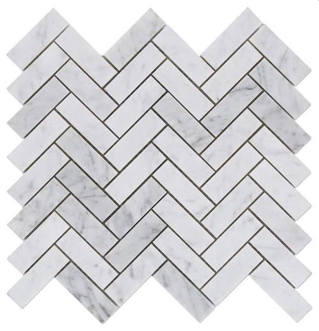"Carrara White Marble Honed or Polished Herringbone 1""x3"" Mosaic Tile"