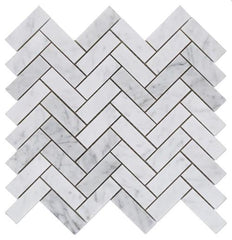 Carrara White Marble 1X3 Herringbone Mosaic Polished/Honed