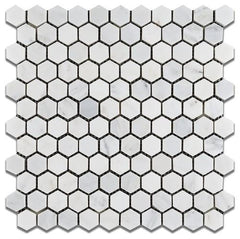 "Carrara Marble 1"" Hexagon Mosaic Tile, Polished or Honed"