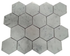 Carrara White Hexagon 3