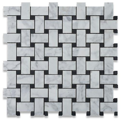 Carrara White Basketweave with Black Marble Polished/Honed Stone Tilezz