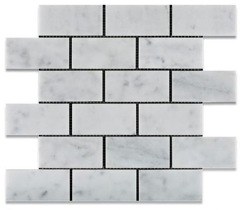 "Carrara White Marble Polished or Honed Subway Brick Mosaic 2""x4"""