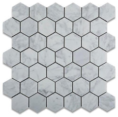 "Carrara White Marble Polished or Honed  2"" Hexagon Mosaic Tile"