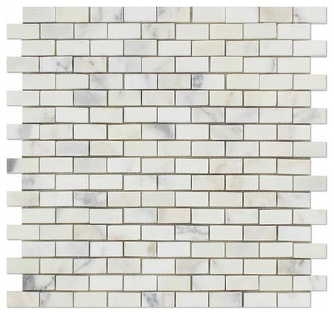 "5/8""x1-1/4"" Baby Brick Italian Calacatta Gold Mosaic, Polished or Honed"