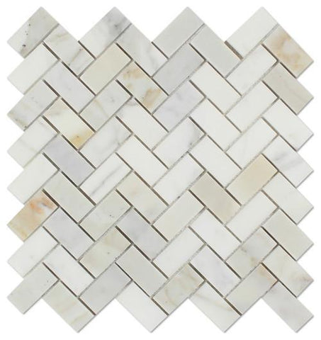 "12""x12"" Gold Italian Calcutta 1""x2"" Herringbone Mosaic Tiles, Polished or Honed"