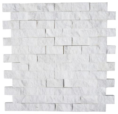 Thassos White 1X2 Split Faced Mosaic Stone Tilezz