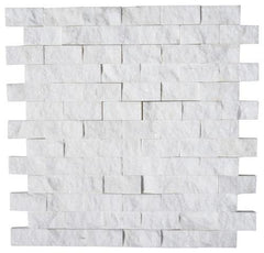 Thassos White Greek Marble 1x2 Split Faced Brick Mosaic Tile