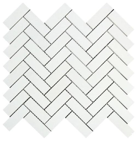 Thassos White Greek Marble 1X3 Herringbone Mosaic Tile, Polished or Honed